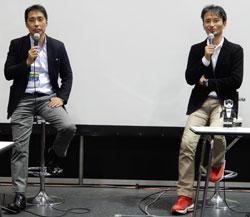 RoBoHoNで実践した松田校長(左)とRoBoHoNを開発した高橋氏(右)