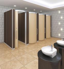 曲面ドアで優しいトイレ空間に