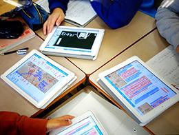 学習者用デジタル教科書・教材を1人1台の学習者用端末で活用。根拠を示しやすく話し合いが活性化した