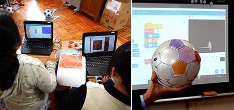 隣合う辺が等しい正五角形と正六角形をプログラミングして白いサッカーボールに帖った