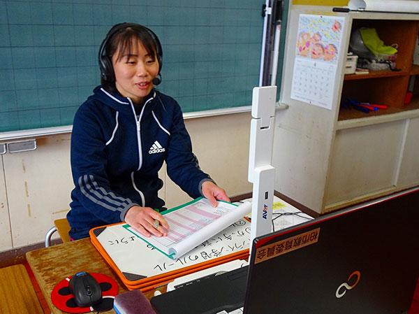 書画カメラで手元のミニ白板と教員の表情を投映