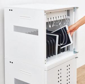 エレコムでは充電保管庫も各種提供している
