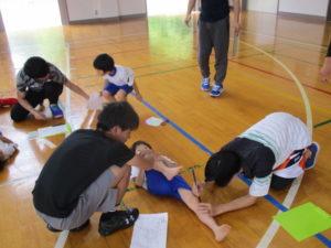 大会練習や日頃の運動不足から、他教員の理解を得て筋肉柔軟性計測を実施