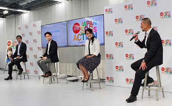 左から蟹江会長、春田氏、和田氏、山口事務局長。山口事務局長は、「一つの自治体ではできることに限界があるので、マルチステークホルダーの力を結集することが大切」と語った