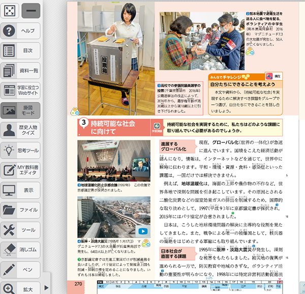 指導者用デジタル教科書(教材)画面の一部ツールバーや紙面のアイコンから様々なコンテンツを起動できる(社会)