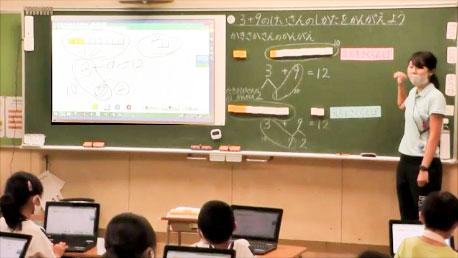 子供が書き込んだ画面を大型提示装置で共有。映像データベースは提示することも各自のPCからアクセスすることもできる