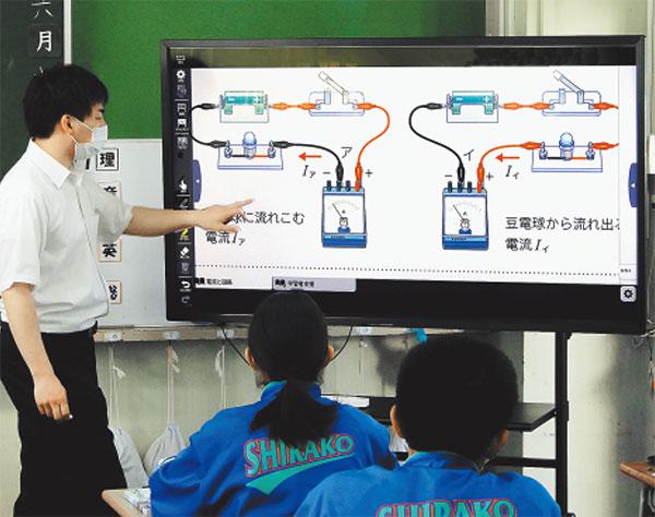 本年5月に電子黒板の全教室配備が完了。端末活用が一気に増えた